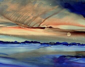 "Large Abstract Landscape Sky Print  / Fine Art Reproduction by Karen Wysopal / ""Evening #25"""