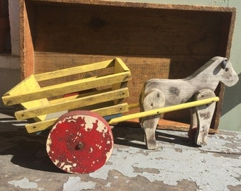 Vintage Wood Farm Cart Toy