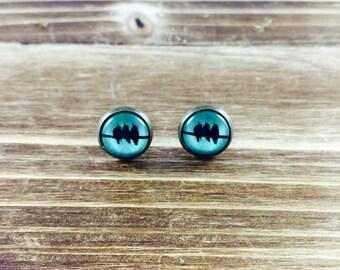 Merle of Blackbirds Cabochon Earrings