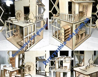 Natural Wooden Toy Dollhouse - Modern Plywood Doll House - Wooden Dollhouse - Wooden Toys - Child's Wooden DollhouseBig Dollhouse