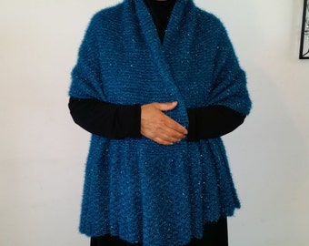 Evening Blue shawl with a hint of shimmer
