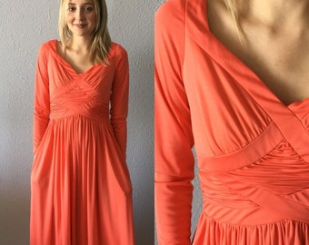 1970's Coral Maxi Dress by Robert David Morton