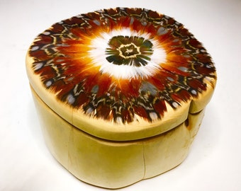 BY THE FIRE Juniper Wood Treasure Box with Tragopan Pheasant Feathers