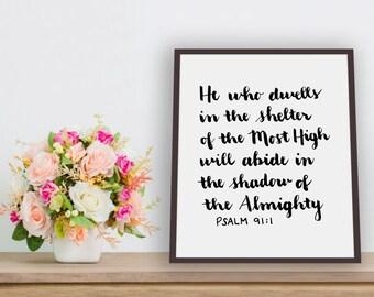 Psalm 91 Home Decoration, Instant Download, Digital Download, Inspirational Quote, Christian Art, Digital Print