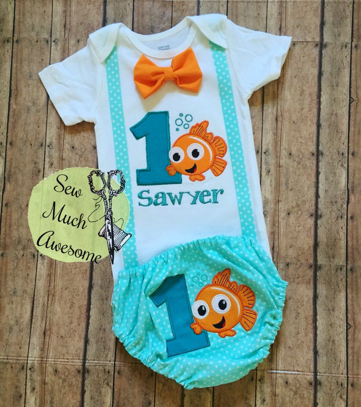 Birthday Party Outfit: Finding Nemo Inspired Outfit Birthday Outift Cake Smash