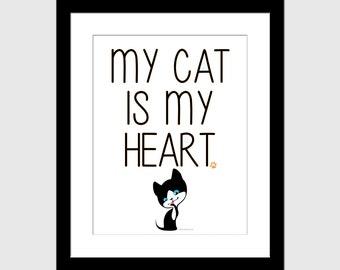 "8""x10"" My Cat Is My Heart Art Print - Animal Rescue"