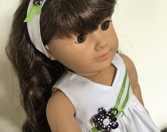 Purple daisy dress with headband fits American girl dolls