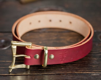 "1.5"" OxBlood Leather Quick Release Belt with Solid Brass or Nickel Plated Hardware - Made to Order"