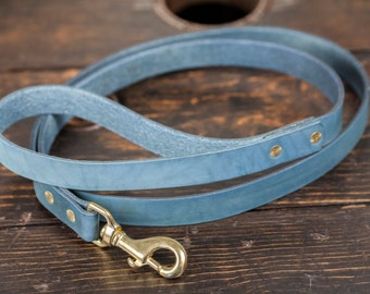 Indigo Dyed Leather Leash with Solid Brass Hardware - Made to Order, 5' Long