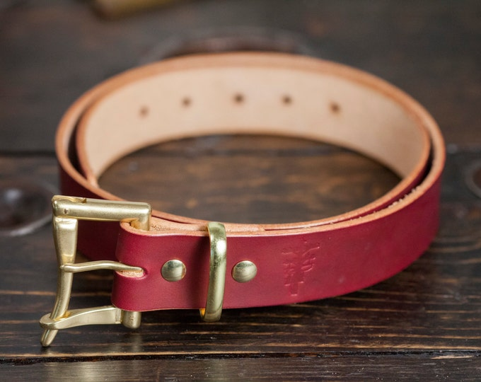 "1.25"" OxBlood Leather Quick Release Belt with Solid Brass or Nickel Plated Hardware - Made to Order"