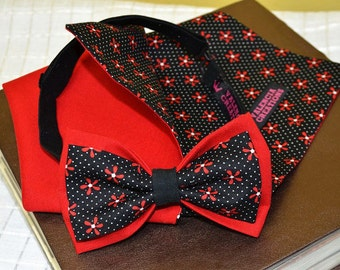 Pre-Tied Bow Tie Men's ties accessories Pocket Square Set of Bow Tie and Pocket Square