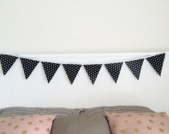 Black and White Fabric Bunting Decoration