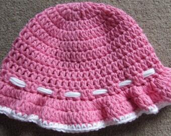 100% cotton crochet baby toddler sun hat