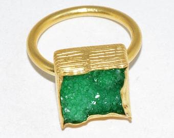 shugar druzy green adjustable ring