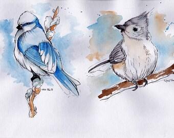 Original watercolour painting of two snow birds