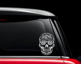 Sugar Skull Car Decal / Dia De Los Muertos Vinyl Decal / Custom Vinyl Art Decal / Sugar Skull Laptop Sticker / Sugar Skull Sticker