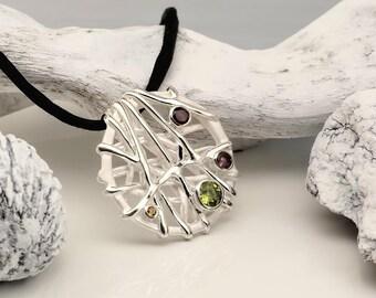Crystals & Silver Necklace One piece.