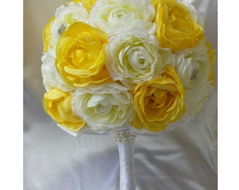 Yellow Brooch Bouquet Yellow Bridesmaids Bouquet Yellow Wedding Bouquet Yellow Silk Rose Bouquet Yellow Bouquet Yellow Rose Bouquet