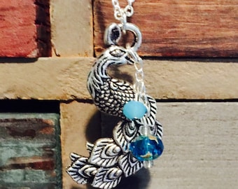 Peacock Necklace, Silver, Turquoise Beads