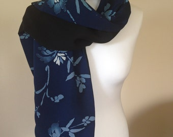 Silk scarf/wrap. Blue and black scarf made from vintage kimono silk.