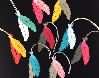 Leather Feather Bag Charms (Series I)