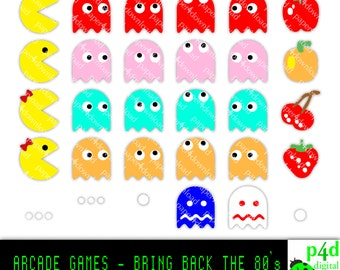 80's Arcade Game Characters - Clipart - Digital Collage, PNG files, Instant Download