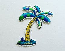 Palm Tree Iron-On Patch, Tropical Patch, DIY Embroidery, Embroidered Applique, Summer Patch, Sew On Patch