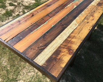 Reclaimed Wood Farmhouse Dining Table Hand Crafted