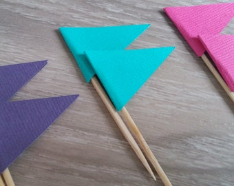 Flag Cupcake toppers, 24 Flag Cupcake toppers, Pink , purple and teal, Food Picks, Flag food pick, Party decoration