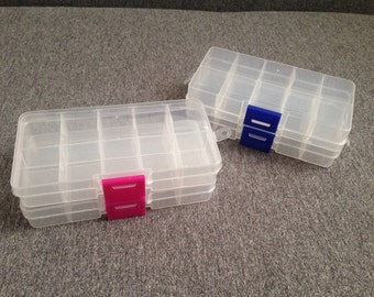 White transparent box, material storage, craft organizer, have material beads charm beads, tools, supplies box