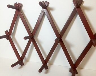 Vintage Accordian Style Wood Peg Rack
