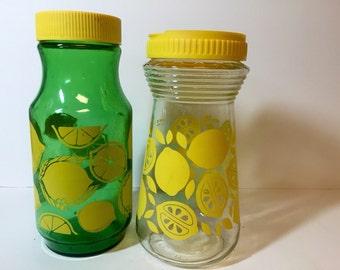 Pair of Vintage Lemonade Carafes with Lids