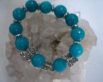 Bracelet Dyed Agate Rounds with Butterflies (#815)