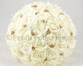 Artificial Wedding Flowers Ivory  Gold Rose Brides Bouquet Posy