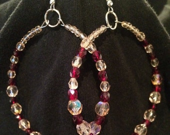 Red and peach hoop earrings