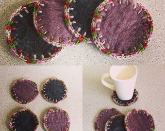 Crochet Felt Coasters - Set of 4