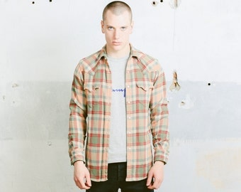 Vintage DOUBLE RL RRL Ralph Lauren Plaid Thick Shirt . Men's 90s Western Cowboy Style Thick Lumberjack Shirt Snap Buttons Red Beige . Small
