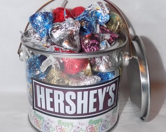 American Hershey assorted kisses Easter gift pot