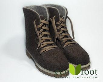 Felted wool boots Felt boots natural beige brown Felted boot Women's felted boots Valenki ecofriendly organic sheep wool Winter felt boots