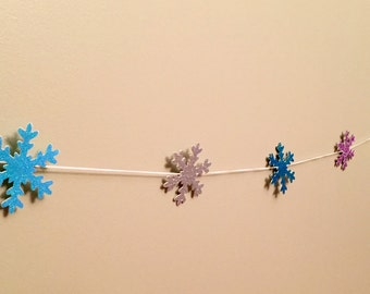 Snowflake Garland, Glitter Snowflakes, Garland, Frozen Inspired, Snowflakes, Winter Décor, Party Decor