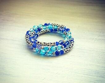 Blue Crystal & Glass 3 Tiered Bracelet