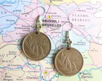 Belgium vintage 10 Franc coin earrings - made of pre-euro coins from Belgium