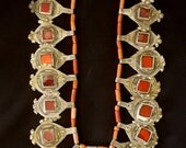 """Morocco - Old necklace - """"Ida ou Nadif"""" silver, guenine coral beads and red glass South Morocco Berber"""