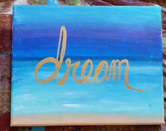 Dream ocean beach abstract scene on canvas 8x10