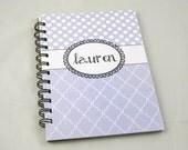 Polkadot and Quatrefoil Monogrammed Notebook/Journal, light purple/lilac