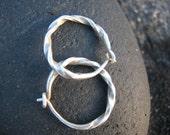 Handmade silver twisted hoops