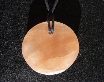 Orange n1 selenite round pendant