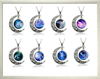 Silver Necklace,Angel,Moon,Fairy,Pendent,Serenity,Love,Charm,Valentines Day Gift,Mothers Day Jewellery,Easter Gift