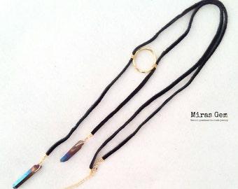 Circle point titanium quartz necklace