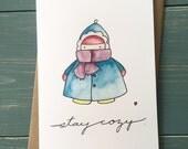 Stay cozy kid folk art heart greeting Christmas   Xmas holiday  card cute pretty watercolour  painting  shabby chic
